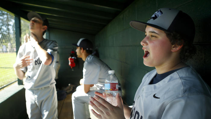 Jake Hofheimer Bethany Mollenkof / Los Angeles Times Jake Hofheimer cheers for his New Roads High baseball team during a game March 23